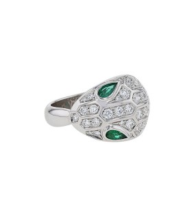 Bulgari Serpenti diamonds, emeralds and gold ring
