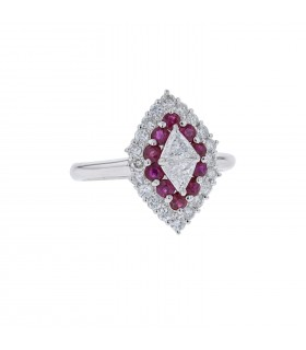 Diamonds, rubies and platinum ring