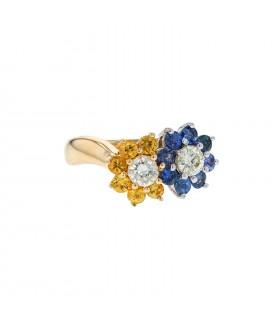 Diamonds, sapphires, yellow sapphires, gold and platinum ring