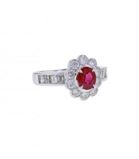 Diamonds, ruby and platinum ring