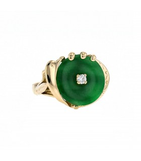 Diamond, jade and gold ring
