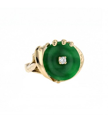 Diamond, jade and gold ring