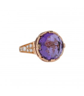 Bulgari Parentesi Cocktail, diamonds, amethyst and gold ring