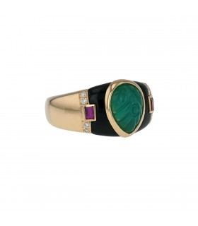 Cartier diamonds, onyx, chalcedony, pink sapphires and gold ring