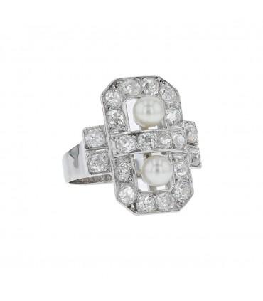 Diamonds, cultured pearls and platinum ring