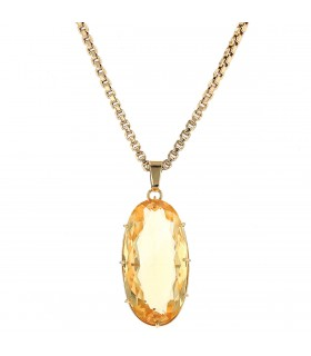 Citrine and gold necklace