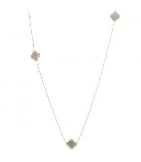Morganne Bello Friandise Trèfle moon stones and gold necklace