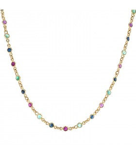 Sapphires, rubies, emeralds and gold necklace