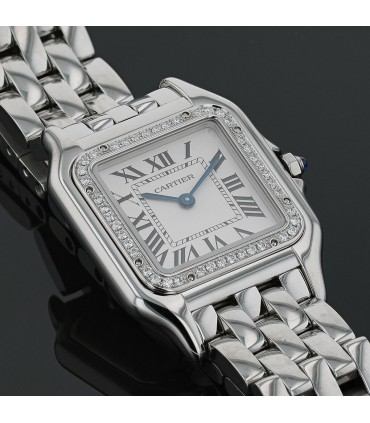 Cartier Panthère diamonds and stainless steel watch