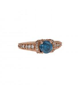 Blue diamond, diamonds and gold ring