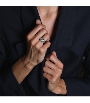Bulgari Serpenti diamonds, emeralds and gold ring
