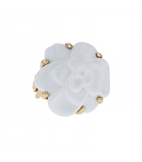 Chanel Camélia agate and gold ring