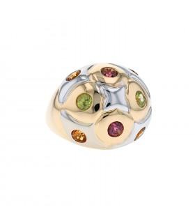 Bulgari tourmaline, peridot, citrine and gold ring