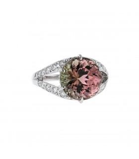 Diamonds, tourmaline and platinum ring