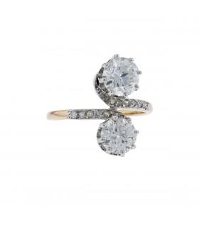 Bague toi & moi or et  diamants - 1,50 ct et 1,20 ct