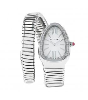Bulgari Serpenti stainless steel and diamonds watch