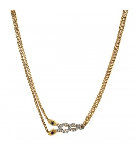 Diamonds, ruby, sapphir and gold necklace