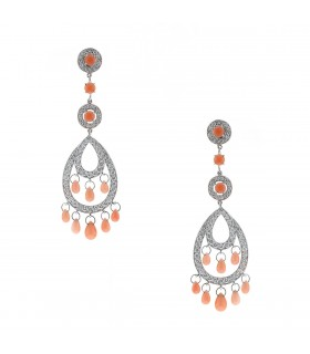 Boucheron Cinna Pampilles coral, diamonds and gold earrings