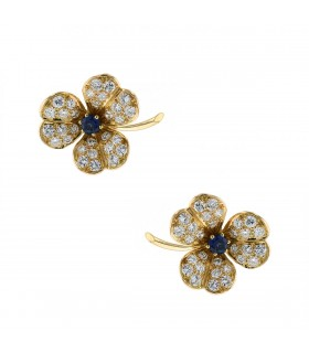 Fred diamonds, sapphires and gold earrings