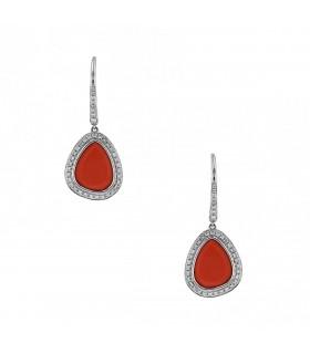 Djula Magic Stones diamonds, coral and gold earrings