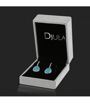 Djula Magic Stones diamonds, turquoise and gold earrings