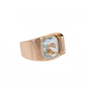 Aquamarine and gold ring