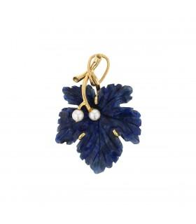 Pendentif feuille de vigne or et lapis lazulis