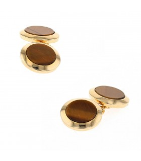 Cartier tiger eye and gold cufflinks