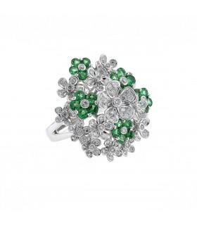 Bague fleurs, or, diamants et émeraudes