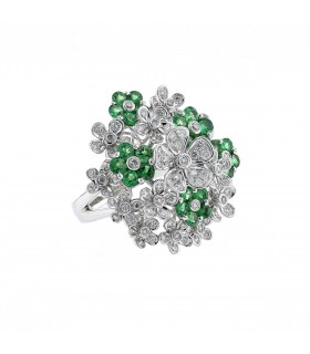 Diamonds, emeralds and gold ring