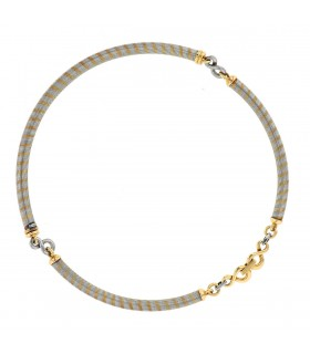 Cartier stainless steel and gold necklace
