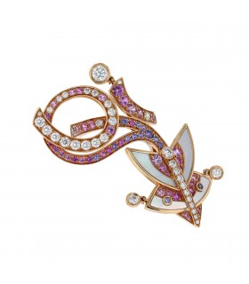 Van Cleef & Arpels Cerfs-Volants diamonds, color sapphires, mother of pearl and gold ring