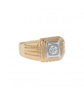 Bague chevalière or et diamant