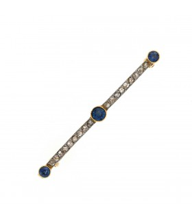 Diamonds, sapphires and gold brooch