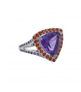 Mauboussin Tellement Subtile pour moi amethyste, color sapphires and gold ring