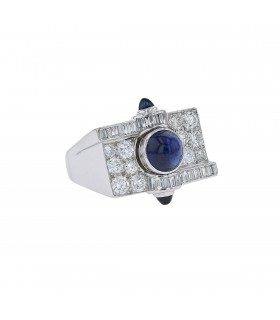 Diamonds, sapphires and platinum ring