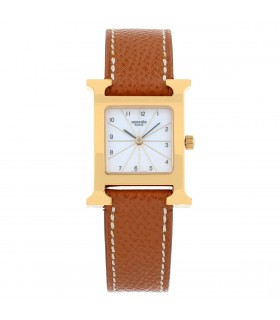 Hermès Heure H gold plated watch