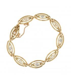 Diamonds and cultured pearls bracelet