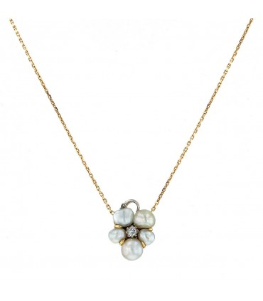 Diamond, cultured pearls and gold necklace