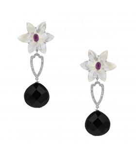 Boucles d'oreilles or, diamants, rubis, onyx et nacre