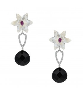 Diamonds, onyx, pink sapphire, mother of pearl and gold earrings