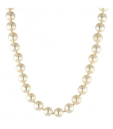 Diamonds, cultured pearls and gold necklace