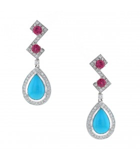 Diamonds, pink sapphires, turquoises and gold earrings