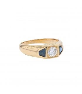 Bague chevalière or, diamant et saphirs