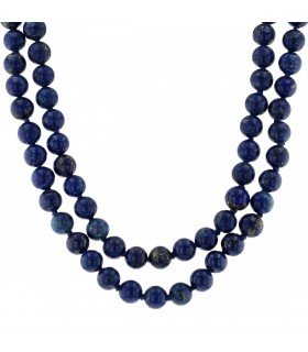 Lapis lazuli and plated gold necklace
