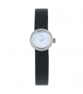 Dior La Mini D diamonds and stainless steel watch