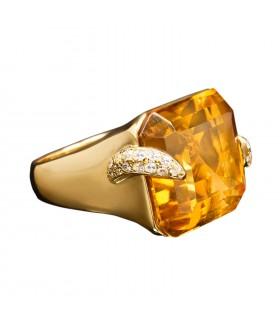 Bague or, citrine et diamants
