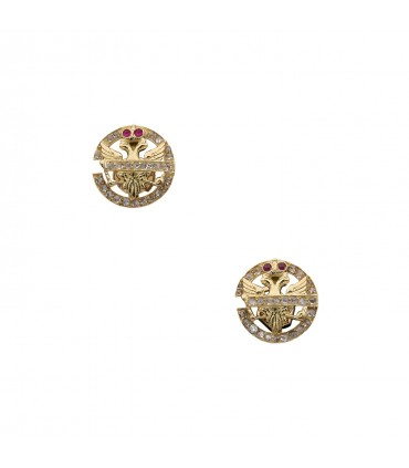 Rubies, diamonds and gold earrings
