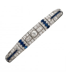 Sapphires, diamonds and platinum bracelet