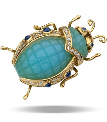 Sapphire, blue calcedony, diamonds and gold brooch
